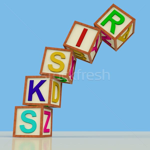 Stock fotó: Kockák · helyesírás · zuhan · szimbólum · veszély · fakockák