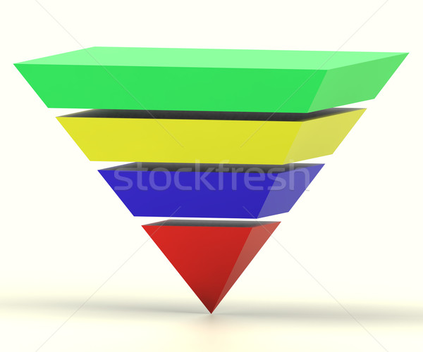 Inverted Pyramid With Segments Shows Hierarchy Or Progress Stock photo © stuartmiles