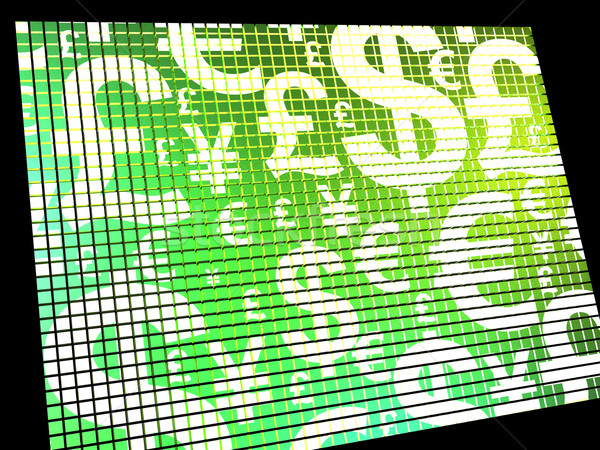Currency Symbols On Compter Screen Showing Exchange Rate And Fin Stock photo © stuartmiles