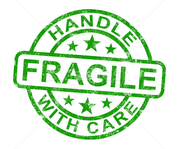 Fragile Stamp Shows Breakable Products Stock photo © stuartmiles