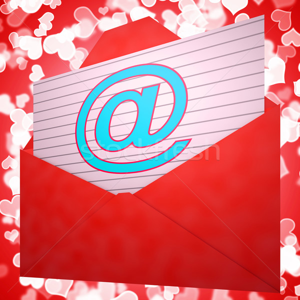 At Envelope Shows Email Message And Correspondence Stock photo © stuartmiles