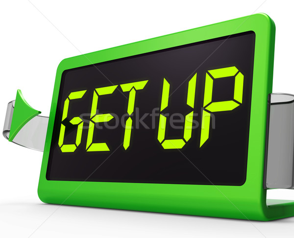 Get Up Clock Message Meaning Wake Up And Rise Stock photo © stuartmiles