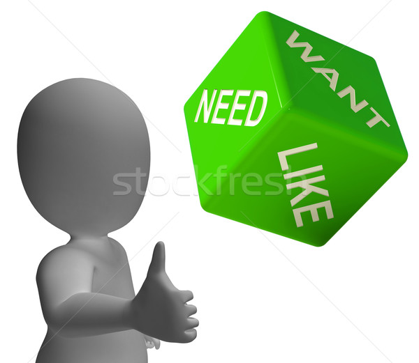 Need Want And Like Dice Showing Yearning Stock photo © stuartmiles