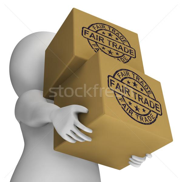 Vásár kereskedelem bélyeg dobozok mutat etikus Stock fotó © stuartmiles