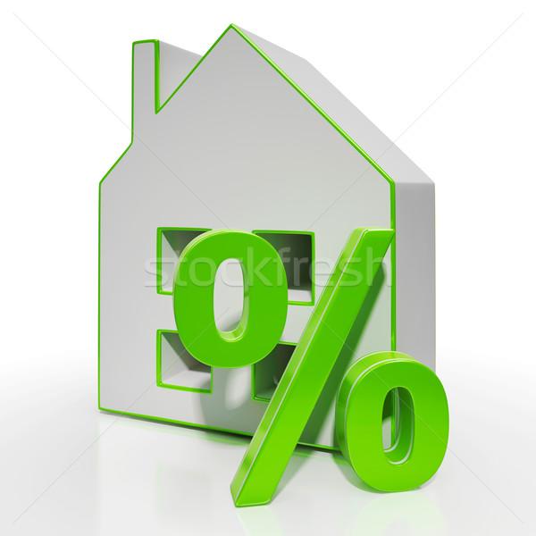 Casa por ciento signo inversión descuento inmobiliario Foto stock © stuartmiles