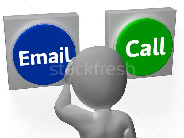 Email Call Buttons Show Mailbox Contact Communications Stock photo © stuartmiles