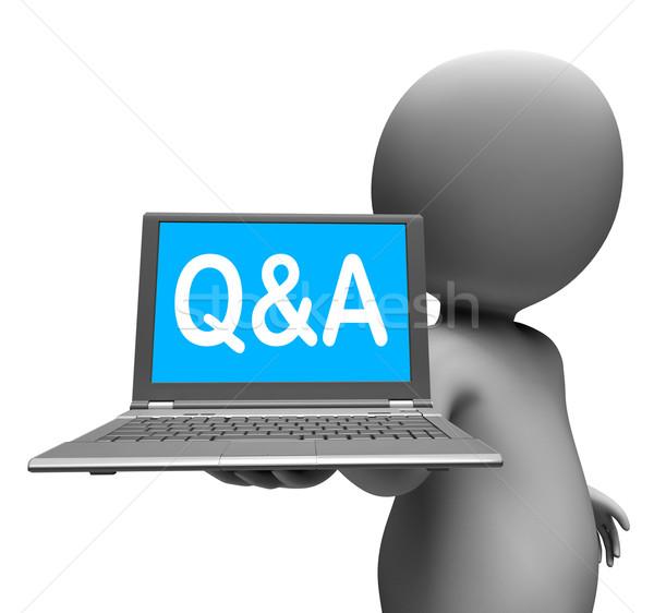 Laptop karakter kérdések válaszok online mutat Stock fotó © stuartmiles