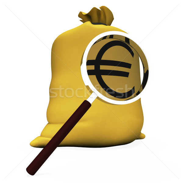 Euros Sack Shows European Money Eur Or Cash Stock photo © stuartmiles