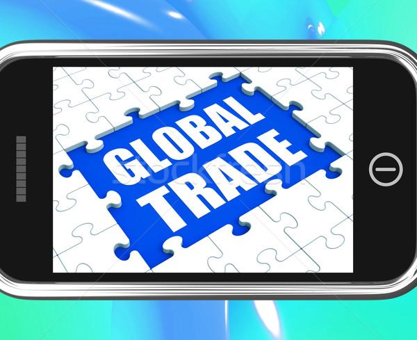 Globale handel tablet online internationale bedrijfsleven tonen Stockfoto © stuartmiles
