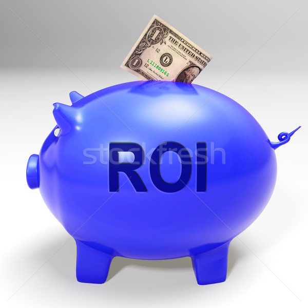ROI Piggy Bank Means Investors Return And Income Stock photo © stuartmiles