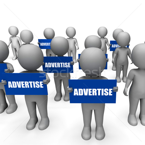 Characters Holding Advertise Signs Show Merchandising Or Product Stock photo © stuartmiles