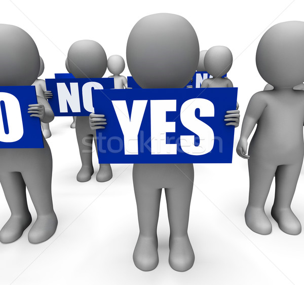 Characters Holding No Yes Signs Show Uncertain Or Confused Stock photo © stuartmiles