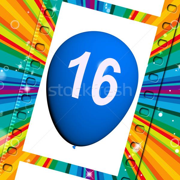 Balão doce dezesseis aniversário festejando Foto stock © stuartmiles
