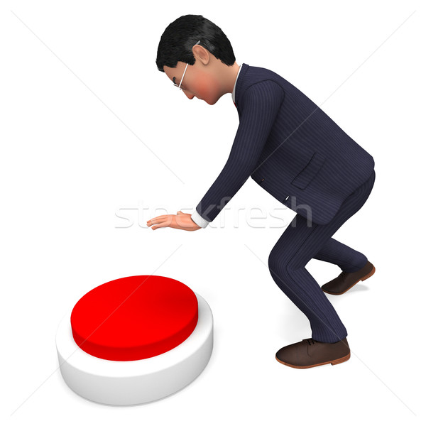 Businessman Pushing Button Indicates Professional Pressed And Corporate Stock photo © stuartmiles
