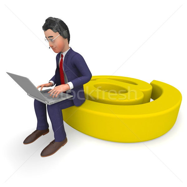 Businessman Working Online Shows World Wide Web And Communicate Stock photo © stuartmiles