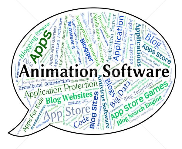 Animáció szoftver szöveg szavak Stock fotó © stuartmiles