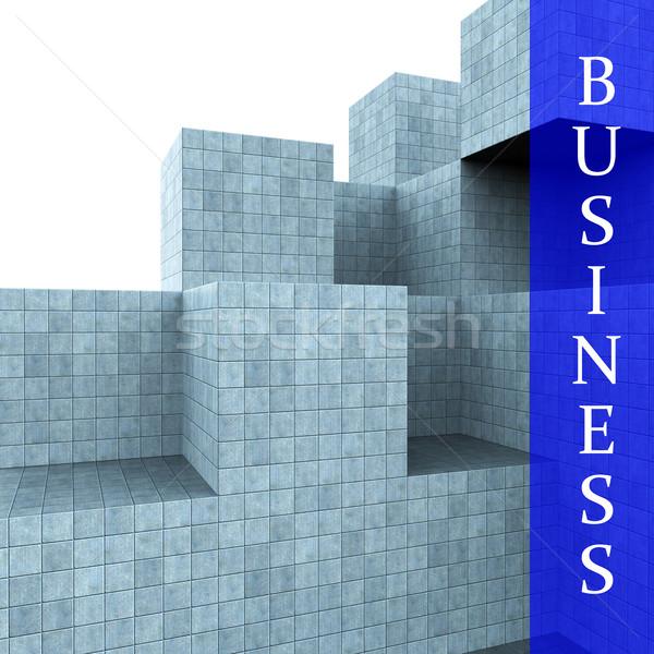 Business Blocks Design Means Building Activity And Construction Stock photo © stuartmiles