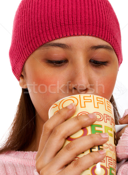 Сток-фото: девушки · Кубок · кофе · рук · тело · стороны