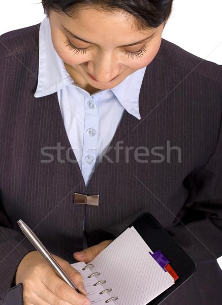 Mulher de negócios programar escrita semanal plano Foto stock © stuartmiles