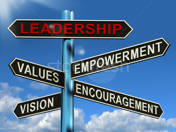 Leadership Signpost Showing Vision Values Empowerment and Encour Stock photo © stuartmiles
