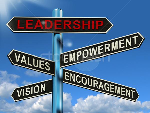 Leiderschap wegwijzer tonen visie waarden business Stockfoto © stuartmiles