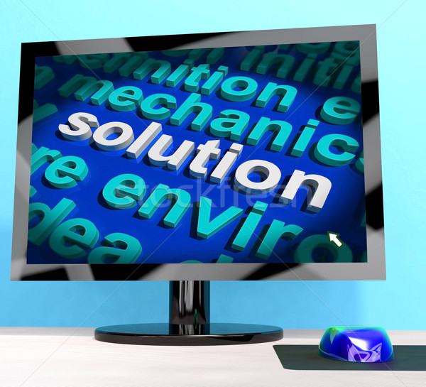 Solution Word On Computer Showing Success And Achievement Stock photo © stuartmiles