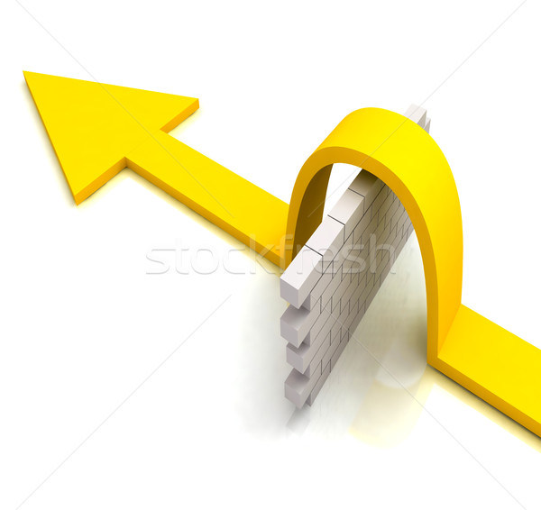 Yellow Arrow Over Wall Means Overcome Obstacles Stock photo © stuartmiles