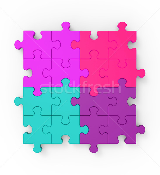 Multicolored Puzzle Square Shows Completion Stock photo © stuartmiles