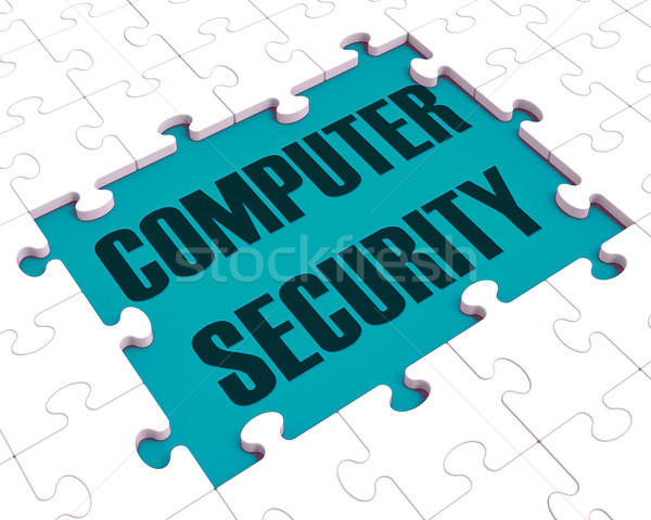 Computer Security Puzzle Showing Files Protection Stock photo © stuartmiles