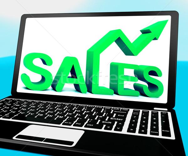 Sales On Notebook Showing Marketing Profits Stock photo © stuartmiles