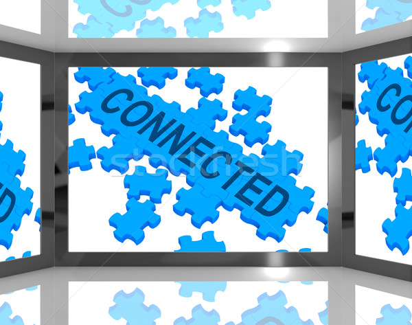 Connected On Screen Shows Global Networking Stock photo © stuartmiles