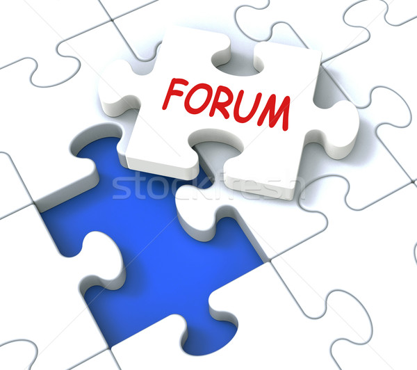 Fórum quebra-cabeça on-line comunidade discussão conselho Foto stock © stuartmiles