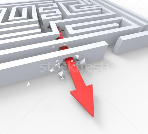 Break Out Of Maze Shows Overcome Puzzle Exit Stock photo © stuartmiles