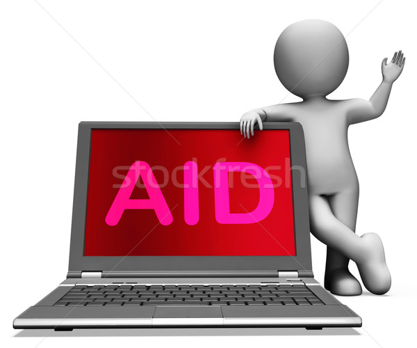 Aid And Character Laptop Shows Assisting Aiding Helping Or Relie Stock photo © stuartmiles