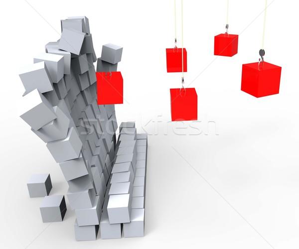 Bloklar aşağı duvar yıkım imha Stok fotoğraf © stuartmiles
