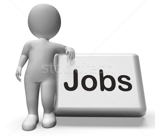 Jobs Button With Character  Shows Hiring Recruitment Online Hire Stock photo © stuartmiles