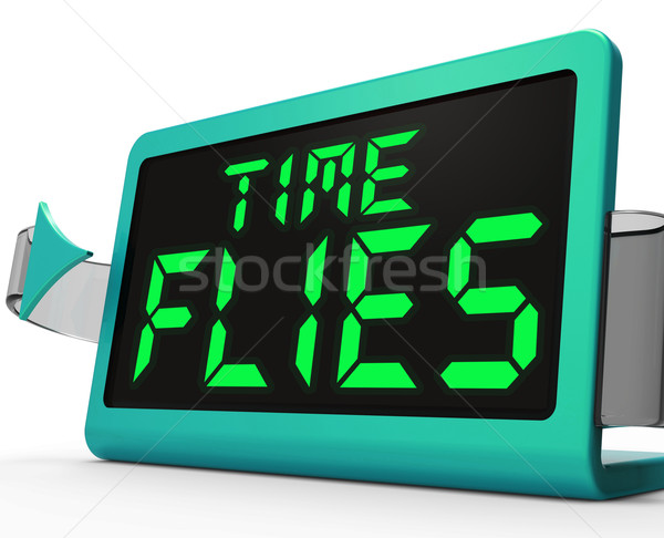 Time Flies Clock Means Busy And Goes By Quickly Stock photo © stuartmiles