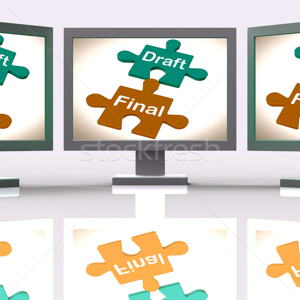 Draft Final Puzzle Shows Write And Rewrite Stock photo © stuartmiles