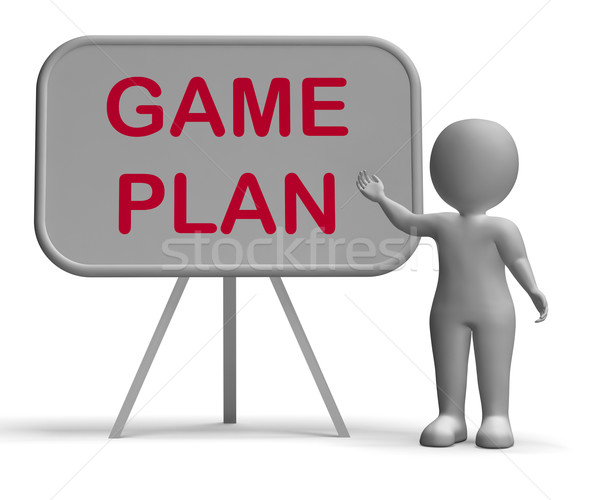 Game Plan Whiteboard Means Scheme Approach Or Planning Stock photo © stuartmiles