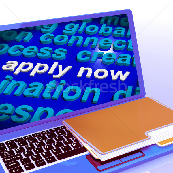 Apply Now Word Cloud Laptop Shows Work Job Applications Stock photo © stuartmiles