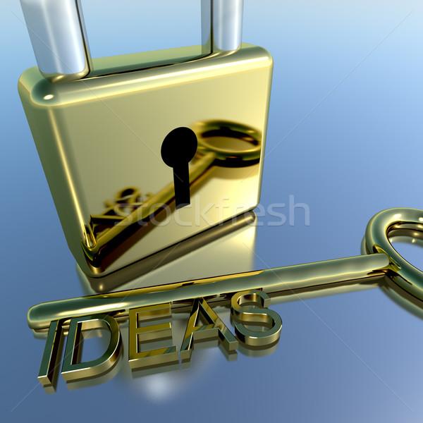 Padlock With Ideas Key Showing Improvement Concepts And Creativi Stock photo © stuartmiles