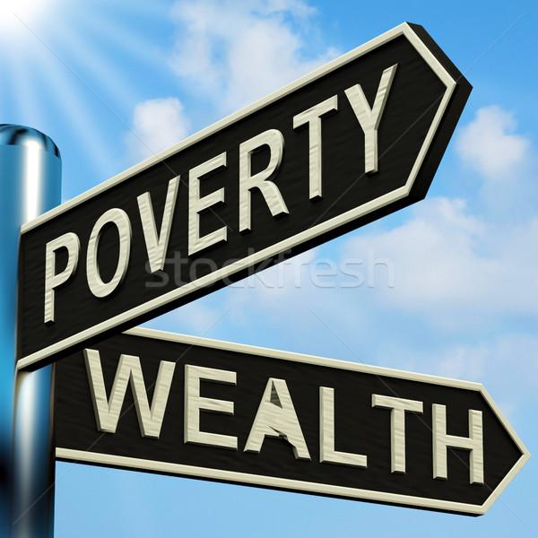 Armoede rijkdom wegwijzer metaal geld Stockfoto © stuartmiles