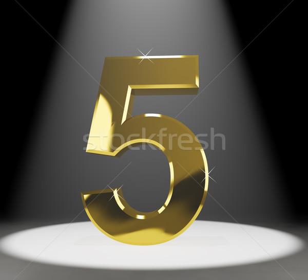 Gold Five Or 5 3d Number Closeup Representing Anniversary Or Bir Stock photo © stuartmiles
