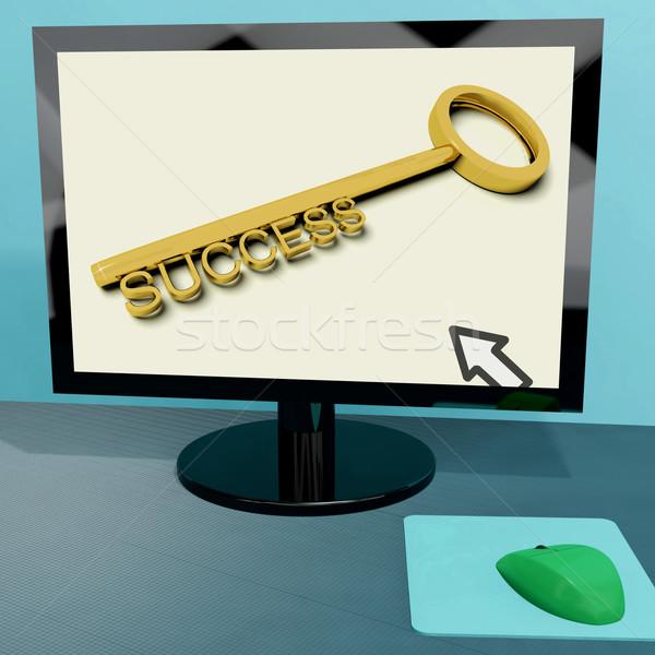 Success Key On Computer Shows Business Achievement Online Stock photo © stuartmiles