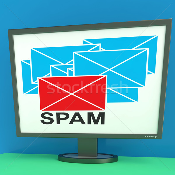 Spam Envelope On Monitor Shows Junk Mail Stock photo © stuartmiles