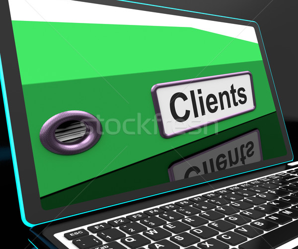 Clients File On Laptop Shows Customers Records Stock photo © stuartmiles