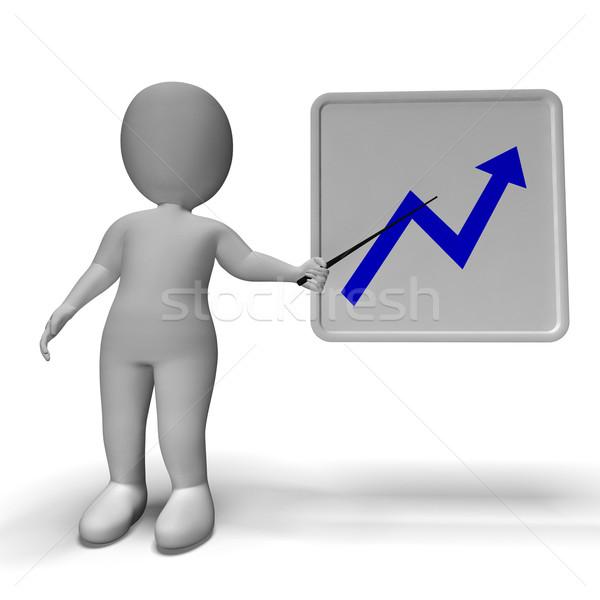 Profit Graph And 3d Character Showing Market Gains Stock photo © stuartmiles