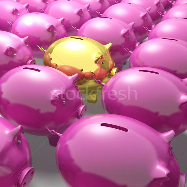 Golden Piggybank Among Group Showing Unique Banking Accounts Stock photo © stuartmiles