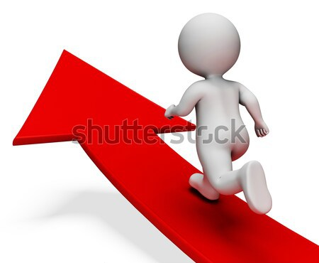 Running Up Arrow Man Showing determination And Eager  Stock photo © stuartmiles
