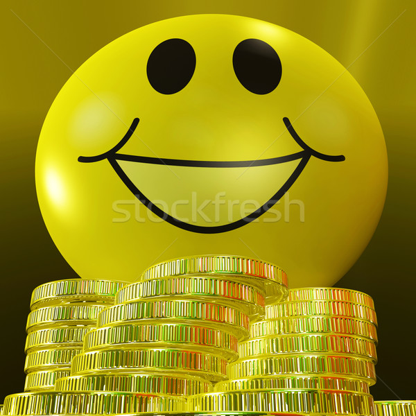 Smiley Face With Coins Showing Monetary Happiness Stock photo © stuartmiles